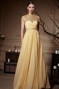 Yellow Tone Jewel Neckline Sheer Back Zipper Chiffon Long Prom Dress