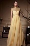 Luxus gelbes A-Linie Bodenlanges Chiffon Abendkleider mit Ärmel