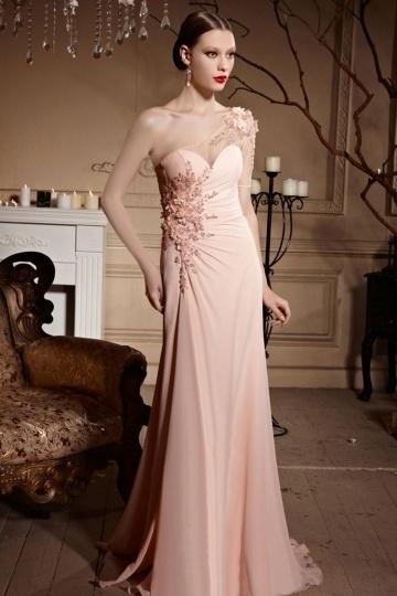 Dressesmall One Shoulder Appliques Ruched Floor Length Chiffon Long Prom Dress
