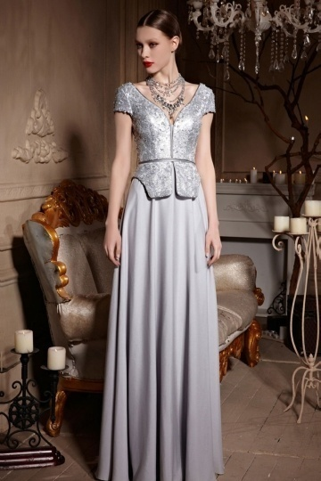Dressesmall Silver Gray V neck Cap Sleeves Sequins A line Long Formal Dress