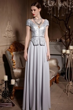 Silver Gray V neck Cap Sleeves Sequins A line Long Formal Dress