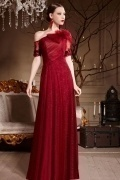 Beautiful Red Tone Flower Tulle One Shoulder Floor Length School Formal Dress