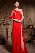 Unique One Shoulder Red Tone Beading Floor Length Chiffon Formal Dress