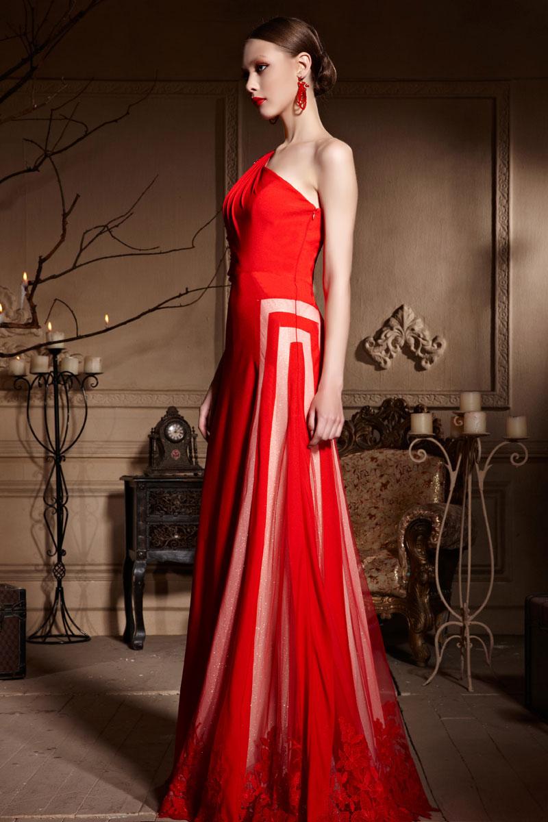 unique robe de c r monie rouge asym trique longue bloc couleur. Black Bedroom Furniture Sets. Home Design Ideas