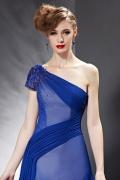 Sexy 1 Schulter A linie langes blaues Abendkleider mit Ärmel