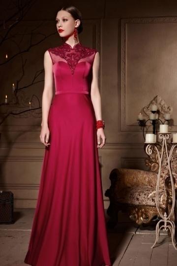 Dressesmall High Neck Red Tone Beading Sleeveless Floor Length Satin Prom Dress