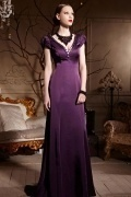 V neck Purple Tone Sweep Train Cap Sleeves Satin Long Formal Dress