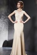 Neues champagne Meerjungfrau Stil V Ausschnitt bodenlanges Abendkeider aus Chiffon