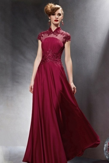 Dressesmall Vintage Lace Beading Short Sleeves Red Long Prom Dress
