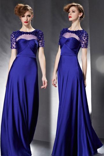 Langes Blaues A Linie Rund Ausschnitt Abendkleid mit Ärmel Persunshop