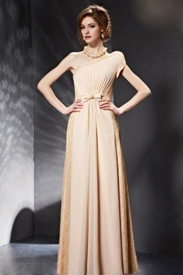 Dressesmall Exquisite Lace Bow Ruched Champagne One Shoulder Chiffon Long Prom Dress