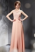 Gorgeous Asymmetric V neck Beading Appliques Pink Chiffon Long Prom Dress
