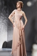 Sumptuous Sequined Embroidery One Shoulder Pink Long School Formal Dress