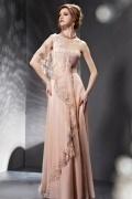 Sexy Ein Schulter rosa bodenlang Abendkleider mit Perle verziert