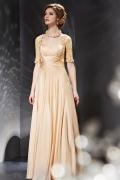 Schön Champagne A Linie Herz Ausschnitt Langes Abendkleid aus Chiffon