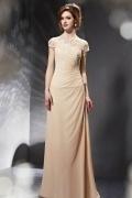 Prägnantes Rund Auschnitt A linie champagnes Abendkleider mit Ärmel aus Chiffon