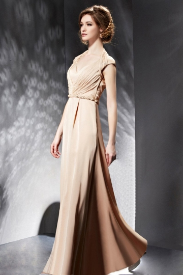 Dressesmall Modern Stain A Line V Neck Evening Dress With Sleeves