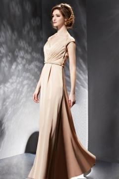 Bodenlanges V-Ausschnitt A-Linie Rückenfreies Abendkleid aus Satin