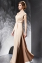 Modern Stain A Line V Neck Evening Dress With Sleeves
