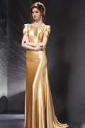 Stunning Beading Gold Backless Short Sleeves Long School Formal Dress