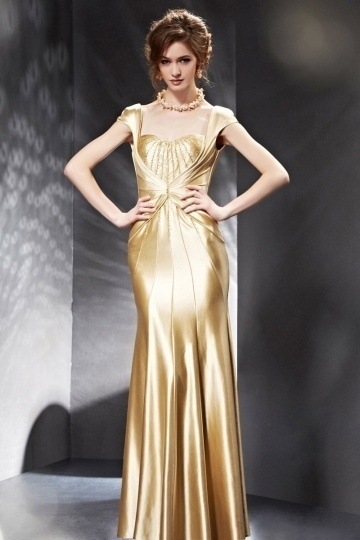Dressesmall Stunning Beading Gold Backless Cap Sleeves Long Formal Dress