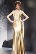 Stunning Beading Gold Backless Cap Sleeves Long Formal Dress