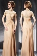Chiffon Champagne Column High Neck Evening Dress With Sleeves