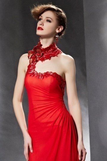 Dressesmall Unique Ruched Sequins Open Back Jewel Chiffon Red Long Formal Dress