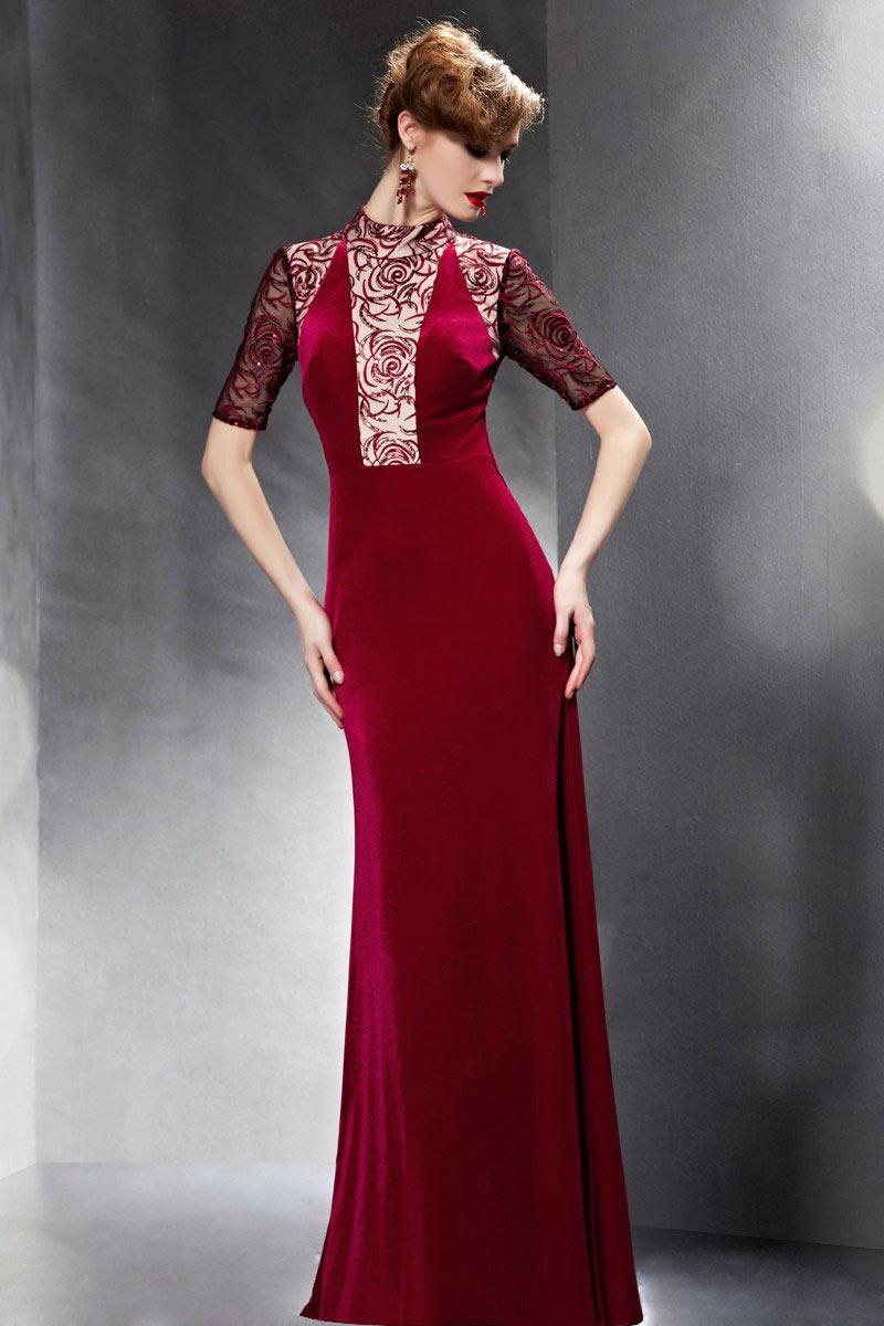 elegantes bodenlanges etui linie rotes abendkleider mit. Black Bedroom Furniture Sets. Home Design Ideas