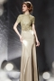 Vintage Sheath High Neck Long Evening Dress With Sleeves