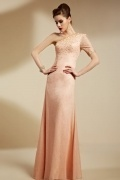Simple Column One Shoulder Lace Formal Dress With Sleeves