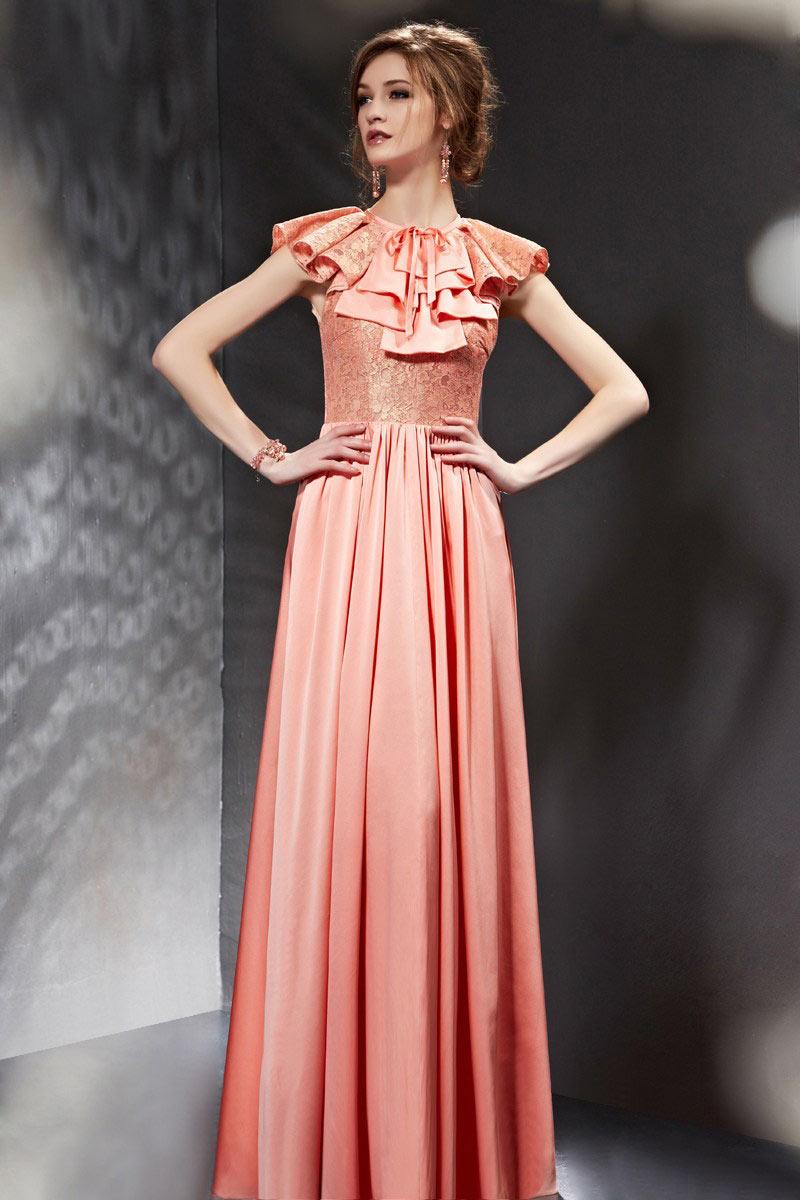 Günstig Vintage A Linie rosa langes Abendkleider mit kurze ...