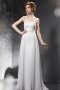 Sexy White Chiffon Strapless A line Beading Evening Dress