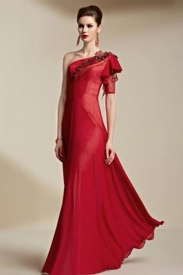 Dressesmall Modern Red Chiffon One Shoulder Floor Length Ruffles Formal Dress