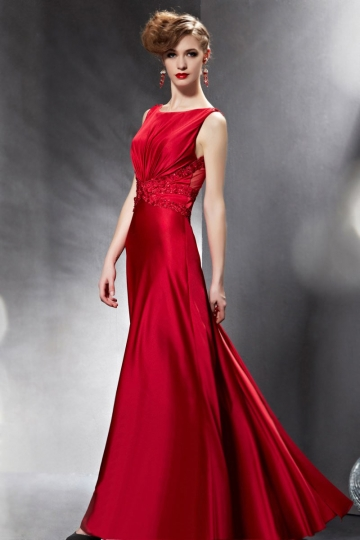Dressesmall Red Sexy Bateau Flowers A line Floor Length Evening Dress