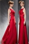 Red Sexy Bateau Flowers A line Floor Length Evening Dress