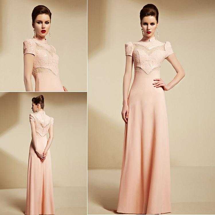 elegantes stehkragen a linie rosa langes abendkleider aus. Black Bedroom Furniture Sets. Home Design Ideas