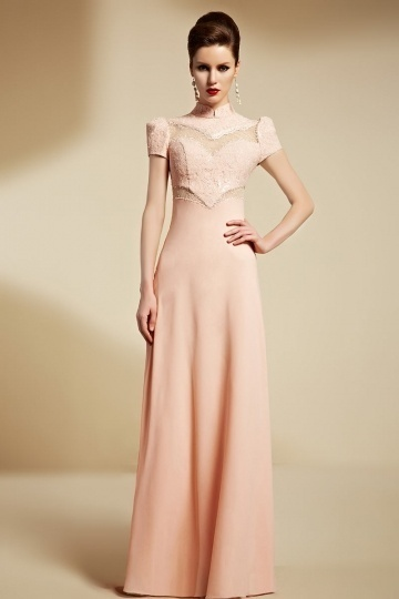 Dressesmall Chic High Neck Long A Line Pink Formal Dress With Sleeves