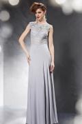 Elegante Bodenlang Etui Linie Rund Ausschnitt Abendkleid aus Chiffon