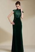 Moderne Stehkragen Etui Linie Empire Langes Grünes Abendkleid mit Ärmel