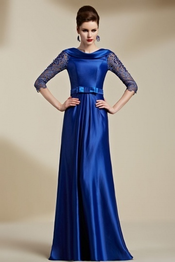 Dressesmall Modern Blue A Line Sweep Train Sash Formal Dress With Half Sleeves