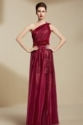 Modern Organza One Shoulder Fuchsia A Line Long Evening Dress