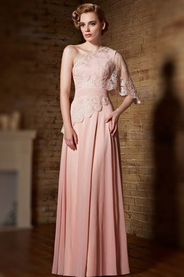 Dressesmall Chic One Shoulder Pink Chiffon A Line Ruching Formal Dress