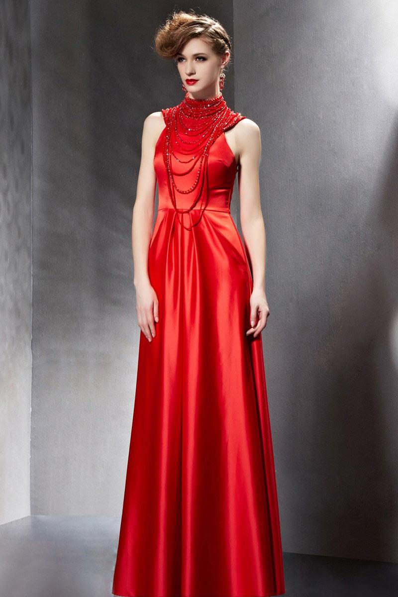 g nstig sch nes stehkragen rot lang ermellos abendkleider mit perle online verkauf persun. Black Bedroom Furniture Sets. Home Design Ideas