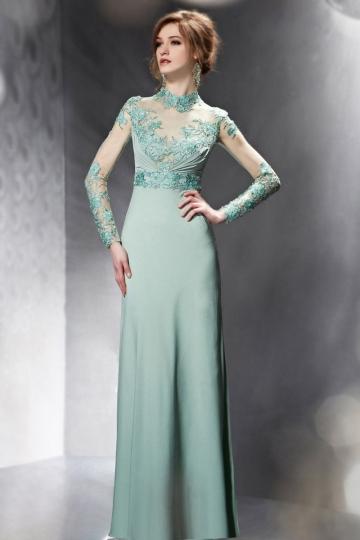 Persun Chiffon Green Column Long Sleeved Embroidery Evening Dress