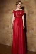 2015 Luxus A-Linie rotes Boot-Ausschnitt Abendkleider aus Chiffon