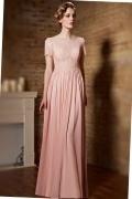 Robe rose élégante pour concert à haut en sequins avec manches courtes