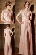 Sexy rosa Chiffon A-Linie Boot-Ausschnitt Abendkleider