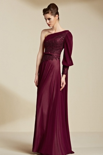 Dressesmall Modern Red One Shoulder Chiffon Sequins Evening Dress