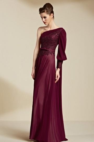 Langes Ein Schulter A Linie Bodenlang Sequins Abendkleider aus Chiffon Persunshop